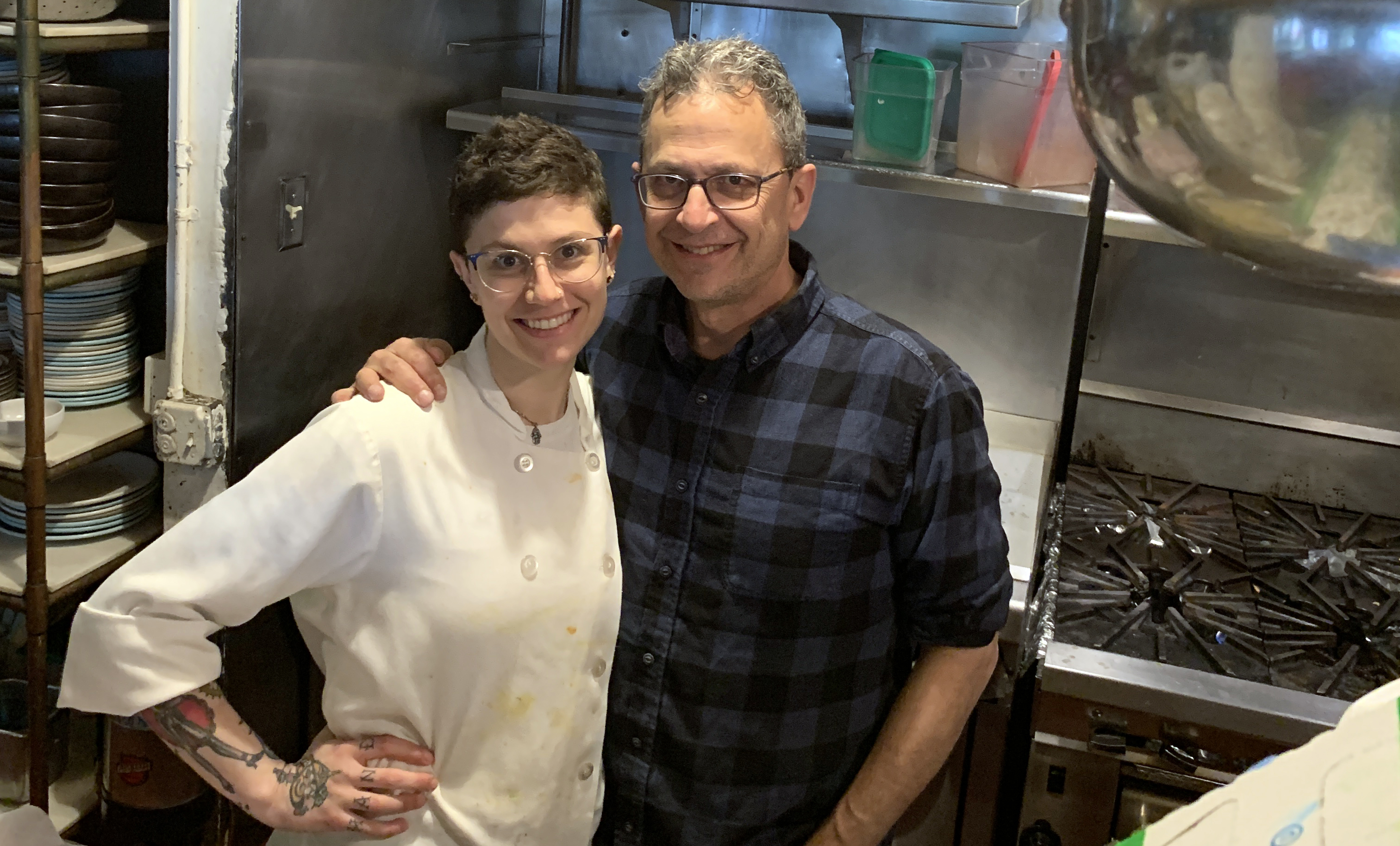 Firefly chef-owner Brad Levy in the kitchen with his chef de cuisine, Haley Sausner (Photo/Courtesy Brad Levy)