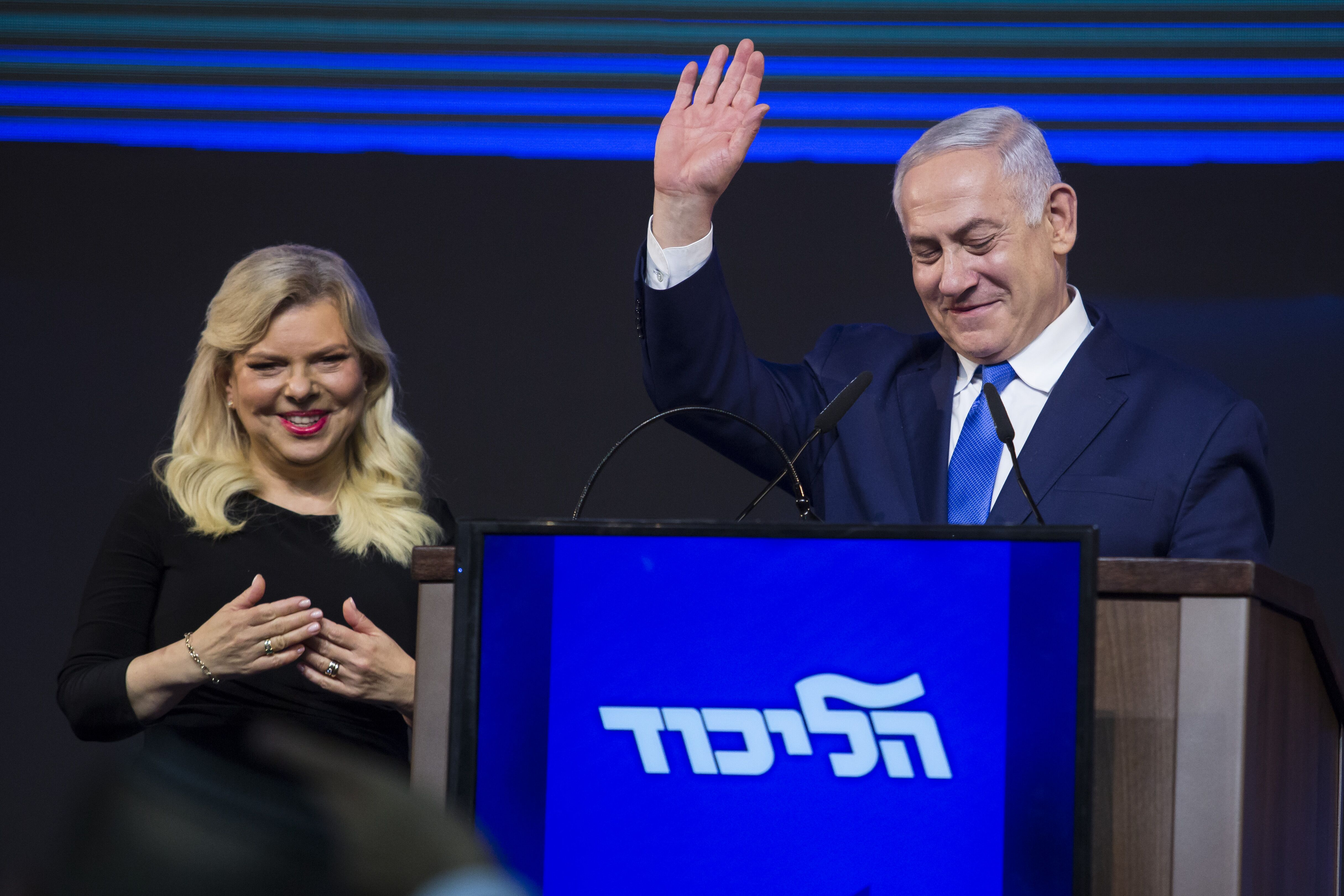 Israeli Prime Minister Benjamin Netanyahu and his wife, Sara, greet supporters during his victory speech in Tel Aviv, April 10, 2019. (Photo/JTA-Amir Levy-Getty Images)