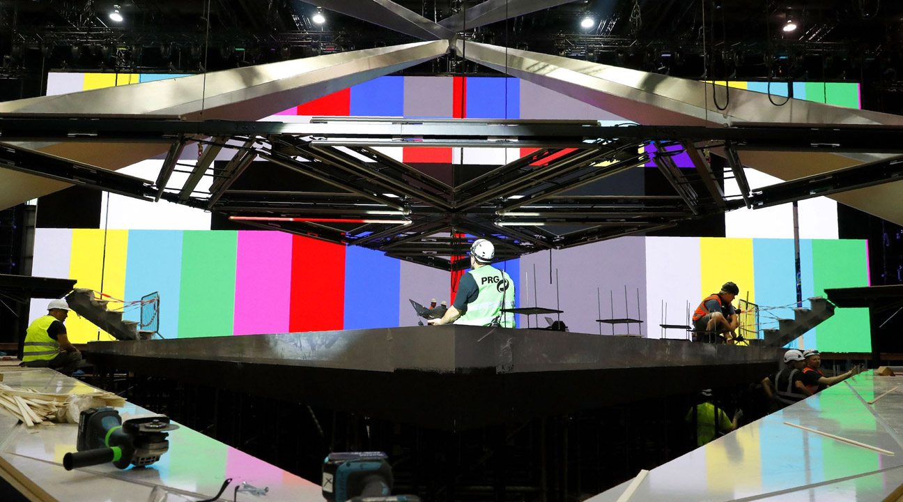 Workers build the stage for Eurovision Song Contest at Expo Tel Aviv, April 15, 2019. (Photo-JTA-Jack Guez-AFP-Getty Images)