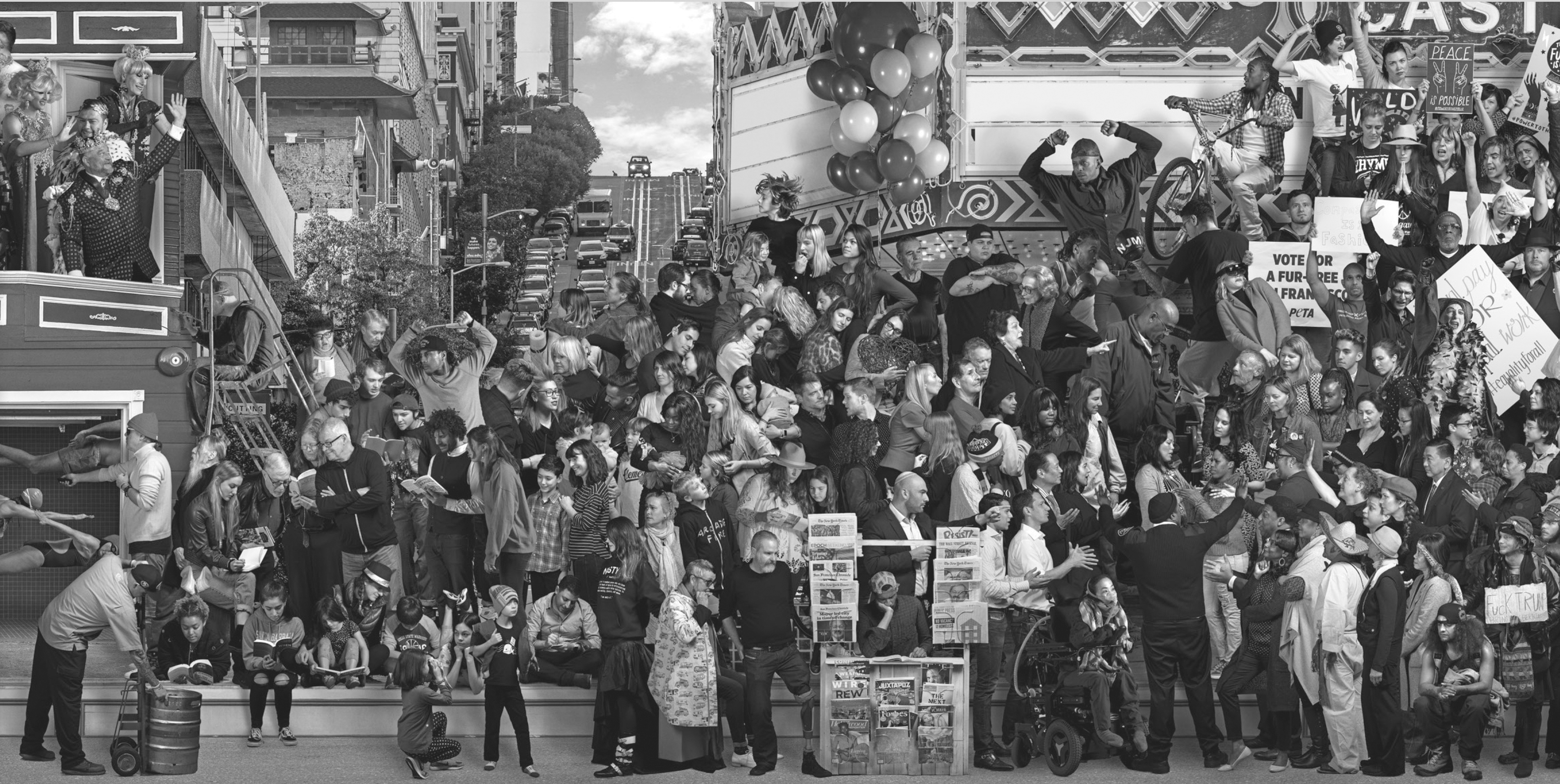 """The Chronicles of San Francisco"" mural of 1,200 San Franciscans includes several from the Jewish community — can you find them? (Photo/Courtesy SFMOMA)"