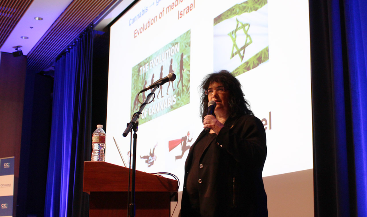 Israeli plant researcher Nirit Bernstein speaks at the California Israel Chamber of Commerce'sCannaMed/Tech Summit in San Francisco, May 1, 2019. (Photo/Maya Mirsky)