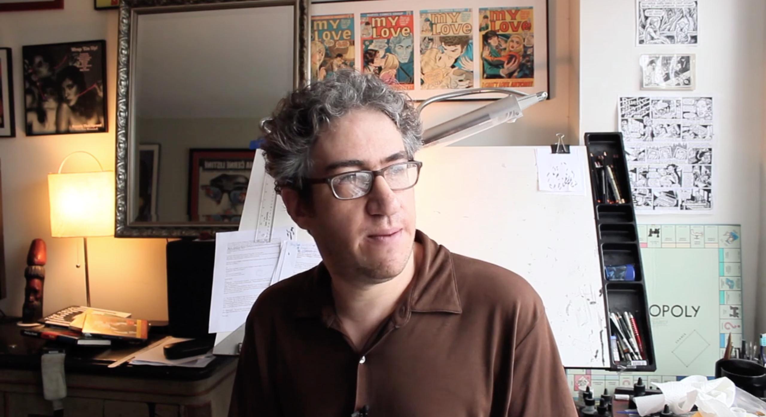 Eli Valley, a Jewish cartoonist whose work has long taken aim at Jewish leaders and institutions, has broadened his scope during the Trump era. (Screenshot/JTA-Vimeo)