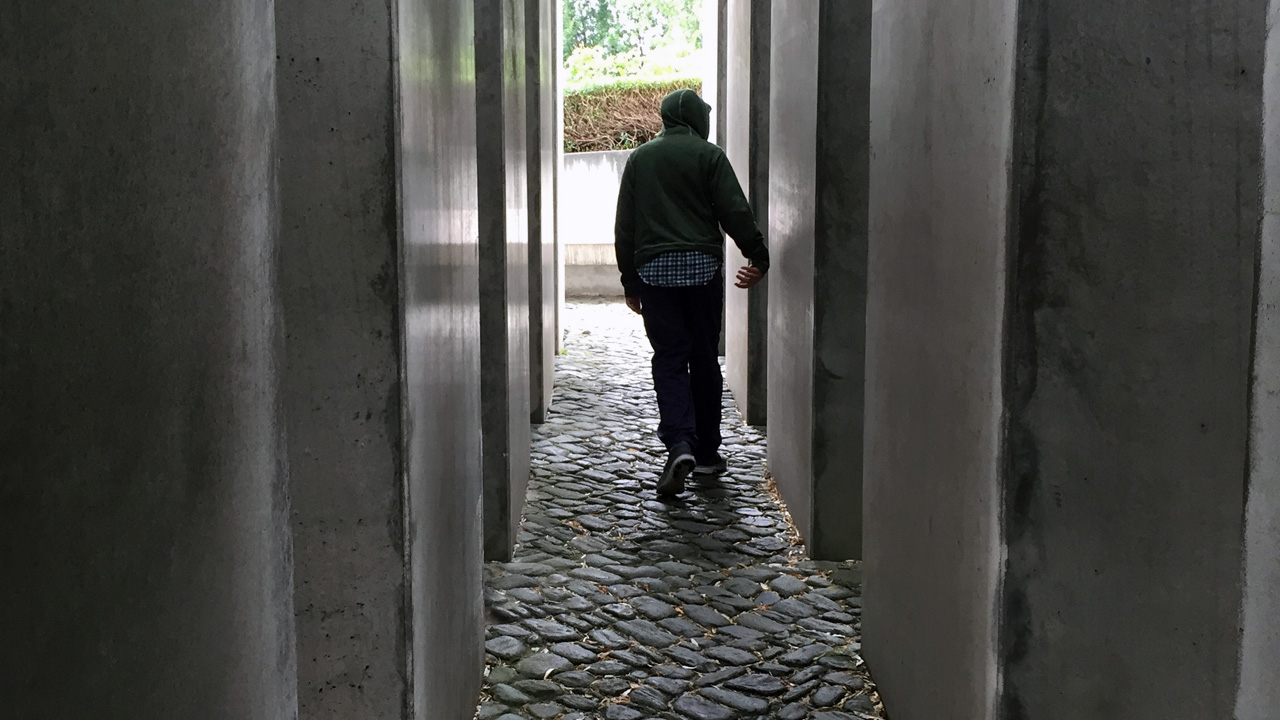 A teenager visiting the Berlin Holocaust Memorial (Photo/Julie Levine)