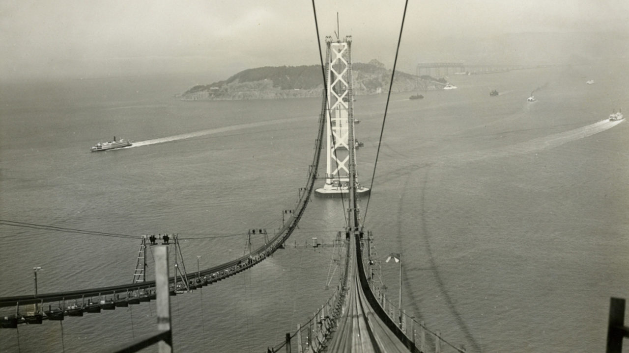 The East Bay and S.F.-based Jewish federations were founded when the Bay Area was a less connected place. But things started change long ago, with the construction of the Bay Bridge, seen here taking shape in 1935.