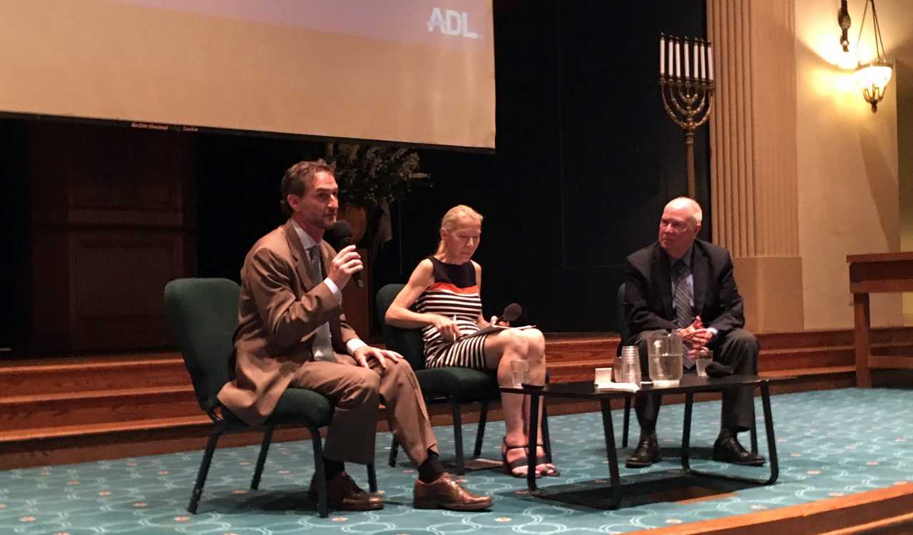 """(From left) S.F.-based regional ADL director Seth Brysk; panel moderator Gunda Trepp; and Rabbi Andrew Baker, director of international Jewish affairs at the American Jewish Committee at """"The Rise of Anti-Semitism in America vs. Europe"""" at Congregation Emanu-El in San Francisco, June 11, 2019 (Photo/Gabe Stutman)"""