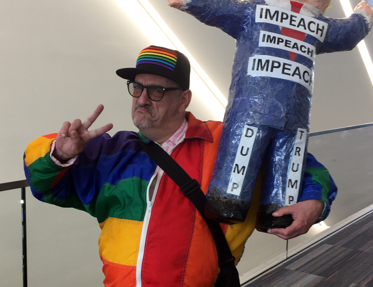 Activist and writer Michael Petrelis was one of many... uh, colorful characters on parade at the California Democratic Party convention in at the Moscone Center in San Francisco, May 31-June 2, 2019. (Photo/Dan Pine)