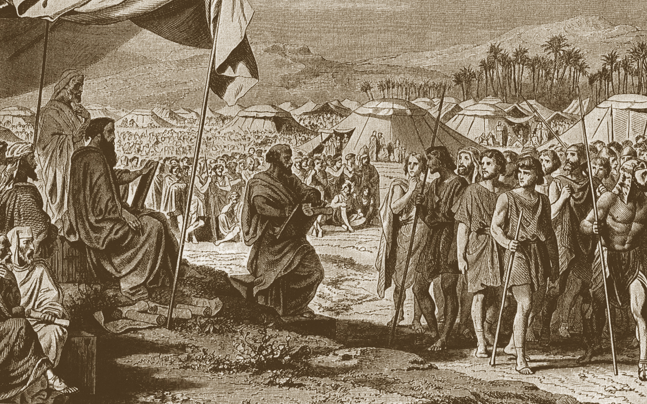"""The Numbering of the Israelites,"" engraving by Henri Félix Emmanuel Philippoteaux, mid-19th century"