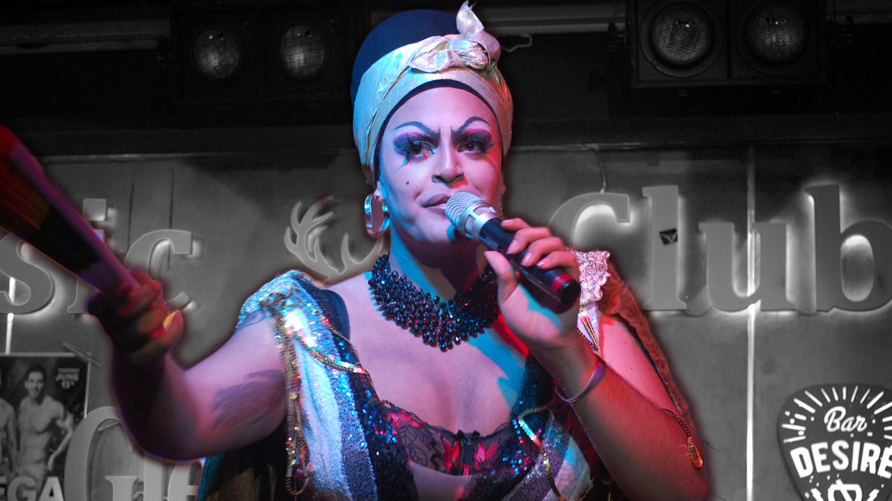 Mama De La Smallah performs at a 2019 Tel Aviv Pride event for her drag house, WERK, at the Desire Club in South Tel Aviv. (Photo/JTA-Laura E. Adkins)