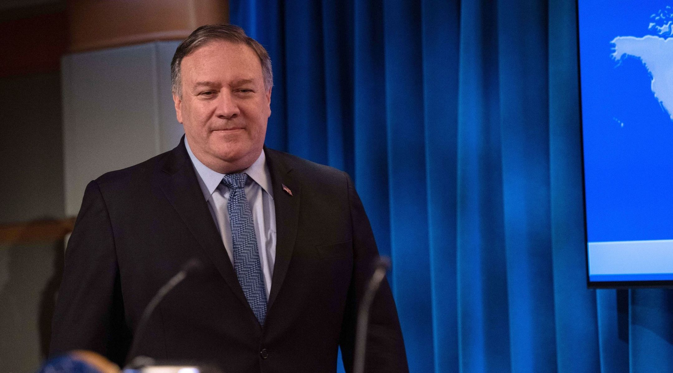US Secretary of State Mike Pompeo arrives to present the 2018 International Religious Freedom Report at the State Department in Washington, DC, on June 21, 2019. (Photo/JTA-Nicholas Kamm-AFP)