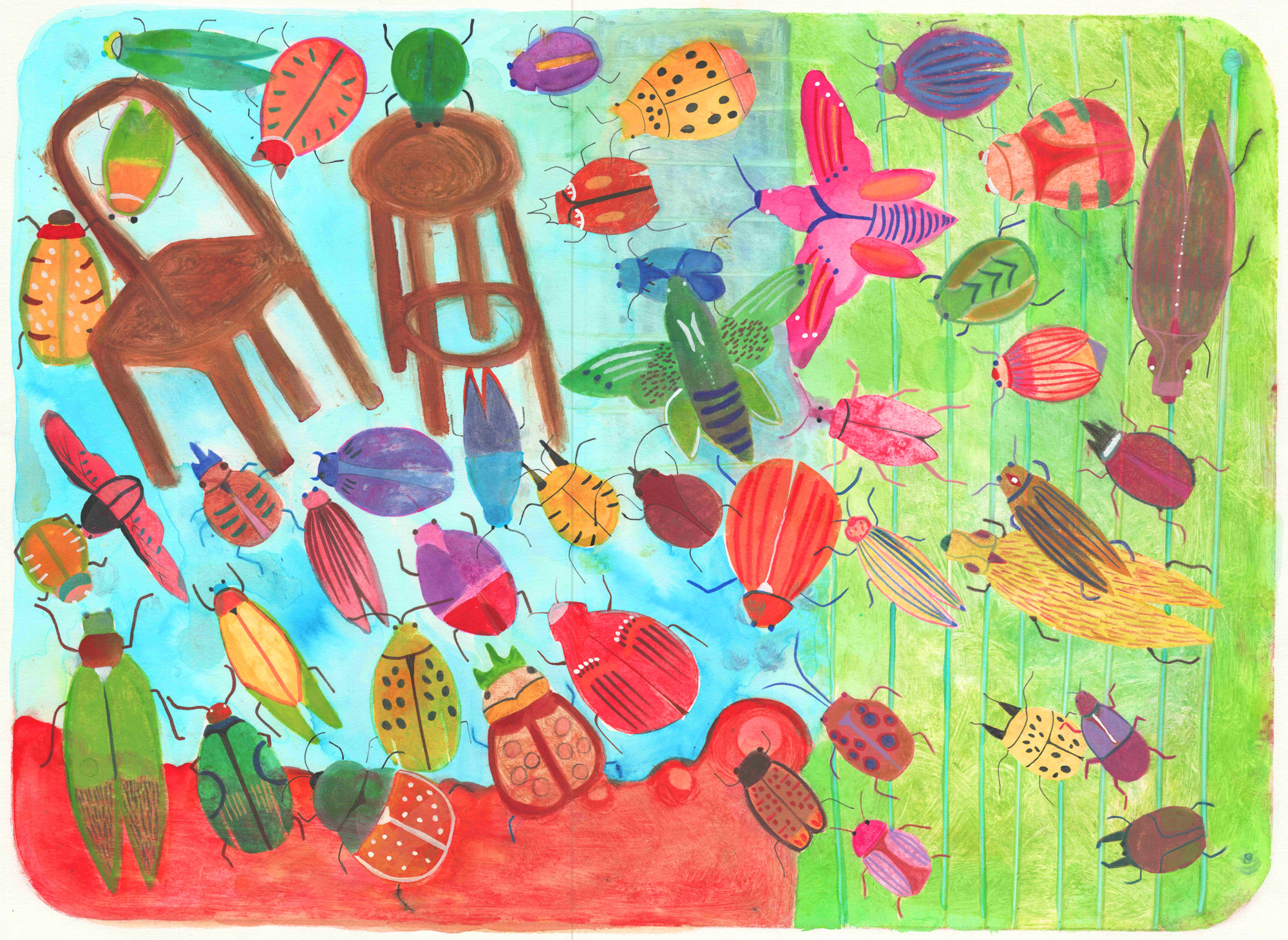"""""""Beetles""""by Cynthia Peppers — one of many submissions we received from local artists for the cover of our annual """"Resource"""" guide to Jewish life in the Bay Area."""