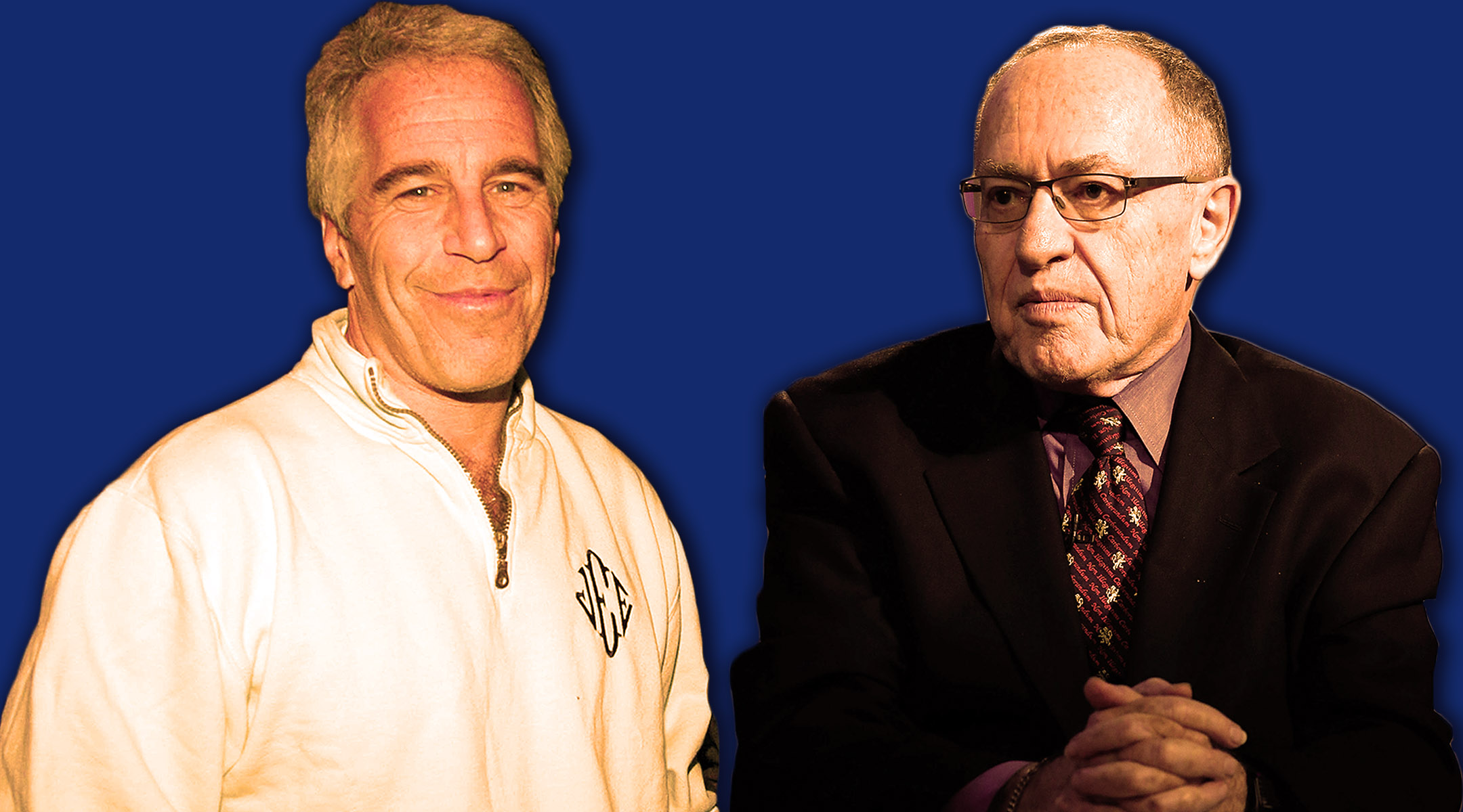 Alan Dershowitz, right, represented sex offender Jeffrey Epstein in a controversial 2008 plea deal and used to send him copies of his books to review before publication. (JTA illustration by Laura E. Adkins)
