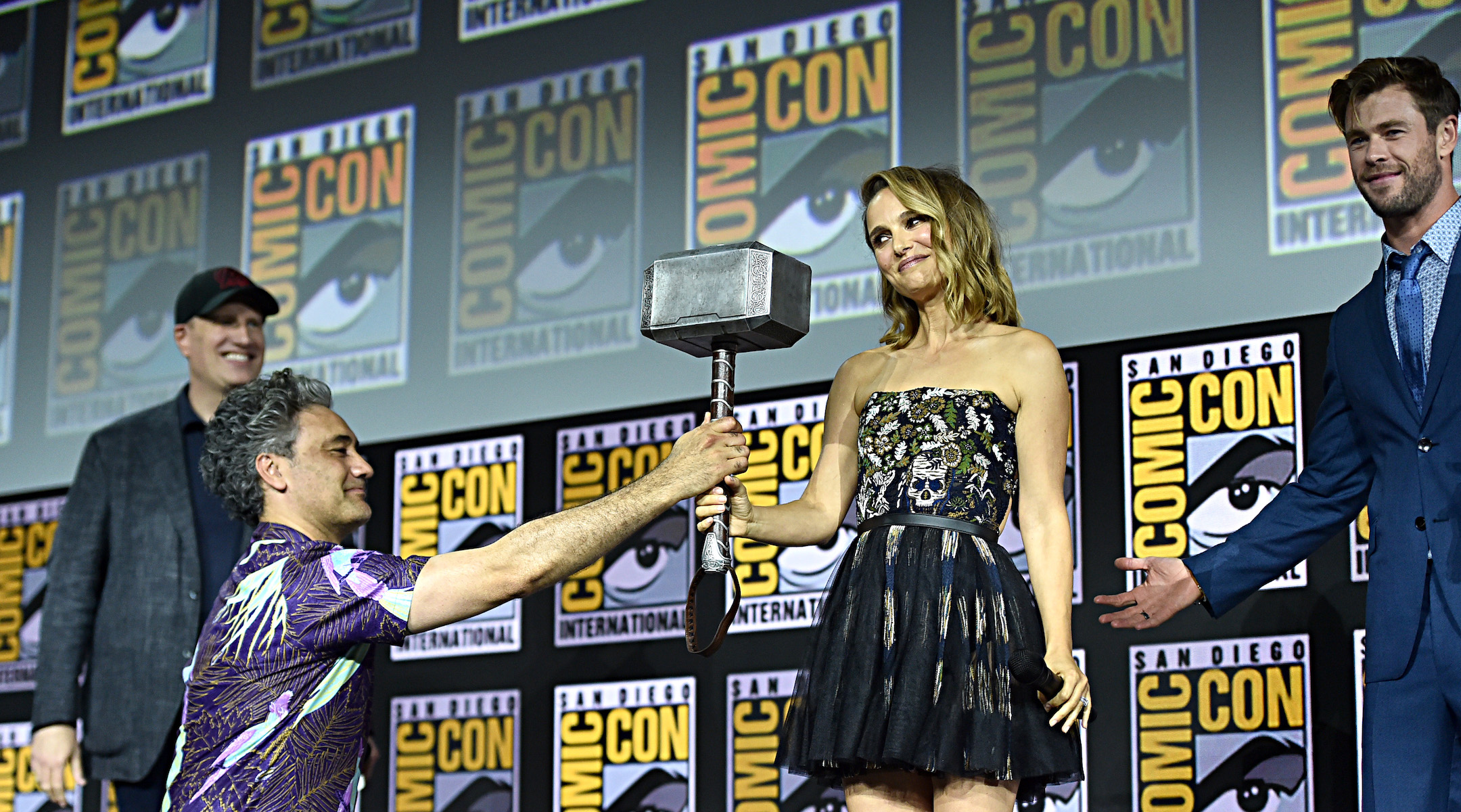 (From left) President of Marvel Studios Kevin Feige, director Taika Waititi, Natalie Portman and Chris Hemsworth at San Diego Comic-Con, July 20, 2019 (Photo/JTA-Alberto E. Rodriguez-Getty Images for Disney)