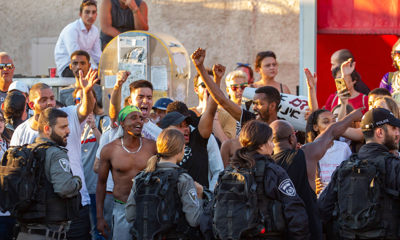 Ethiopians and supporters have protested across Israel against police violence following the death of a 19-year-old Ethiopian Israeli, Solomon Tekah, who was shot and killed by an off-duty police officer. Shown here is a protest in Kiryat Ata, July 3, 2019. (Photo/JTA-Flash90)