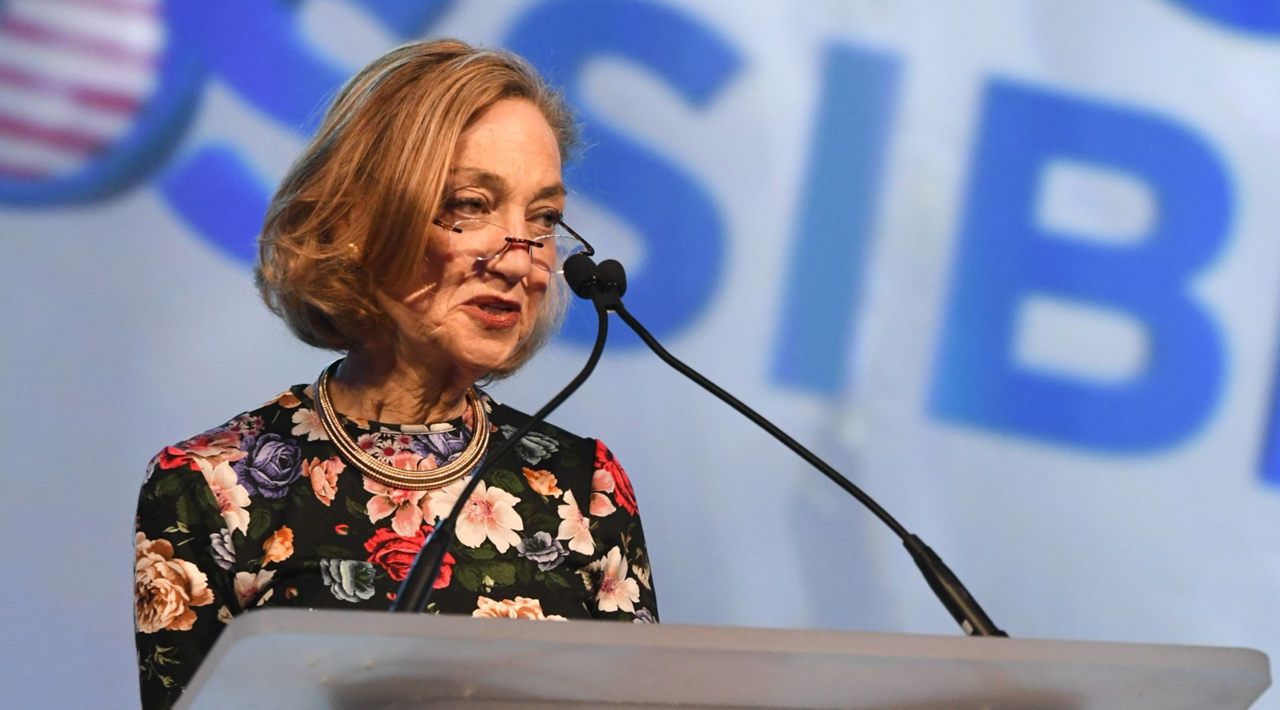 Hadassah CEO Janice Weinman speaks at the group's national convention in New York, July 18, 2019. (Photo/Courtesy Hadassah)