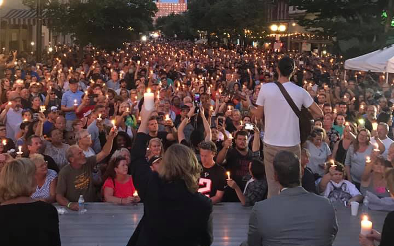 A vigil in Dayton, Ohio in memory of the nine people gunned down on the street earlier in the day, Aug. 4, 2019 (Photo/City of Dayton Public Affairs)