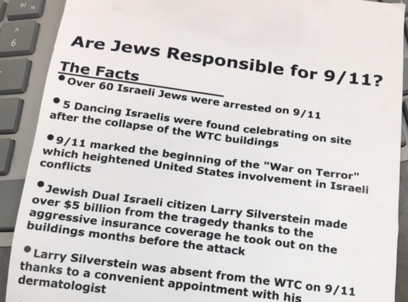 Part of the anti-Semitic flyer found at multiple locations in Novato (Photo/Courtesy Matt Elkins)