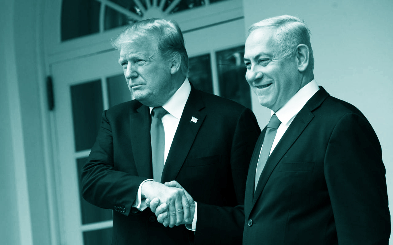 President Donald Trump and Prime Minister of Israel Benjamin Netanyahu shake hands while walking through the colonnade prior to an Oval Office meeting at the White House, March 25, 2019. (Photo/JTA-Drew Angerer-Getty Images)