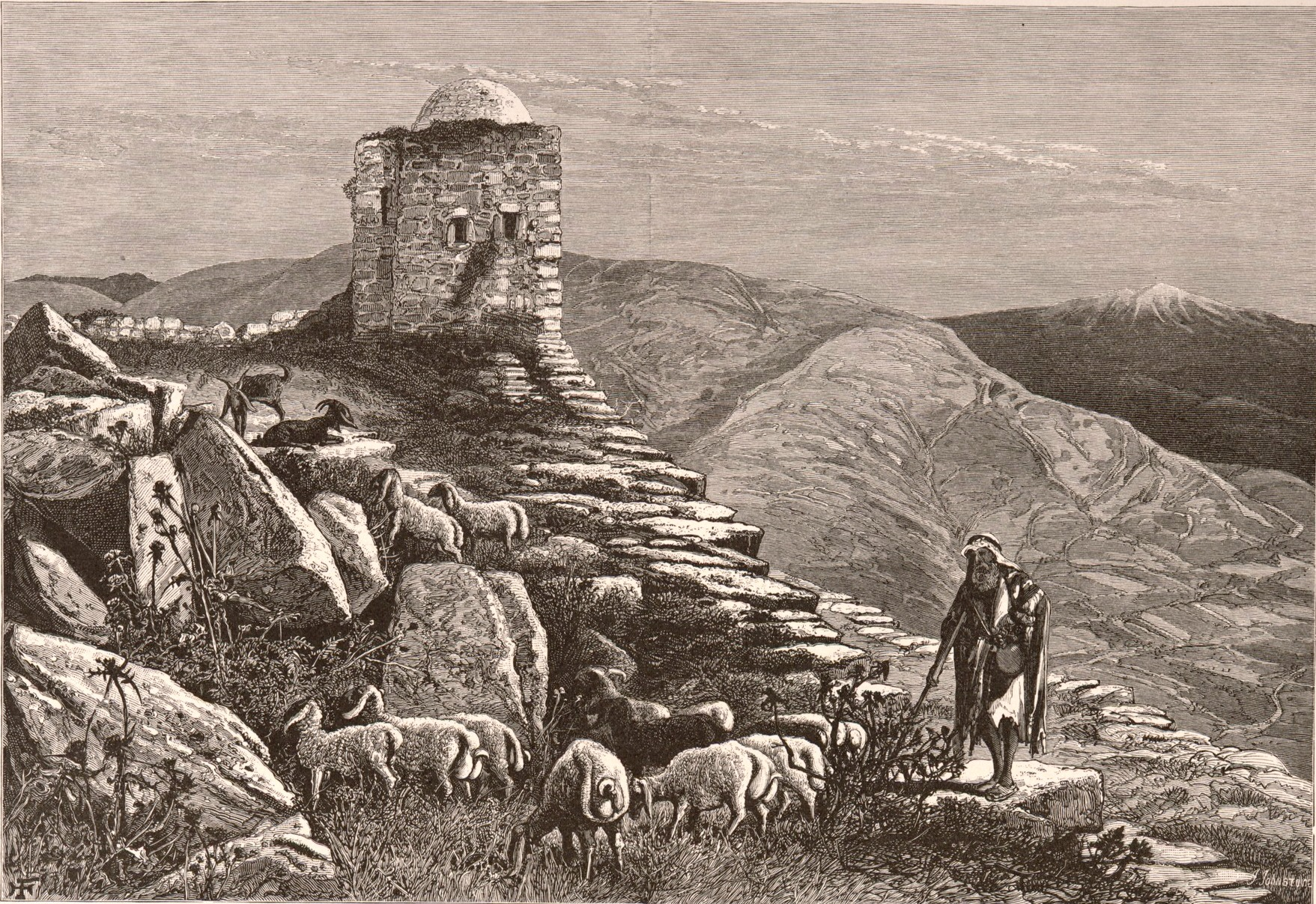 A structure on Mount Gerizim, a site associated with blessings in this week's Torah portion, seen in an 1881 illustration by Henry Fenn.
