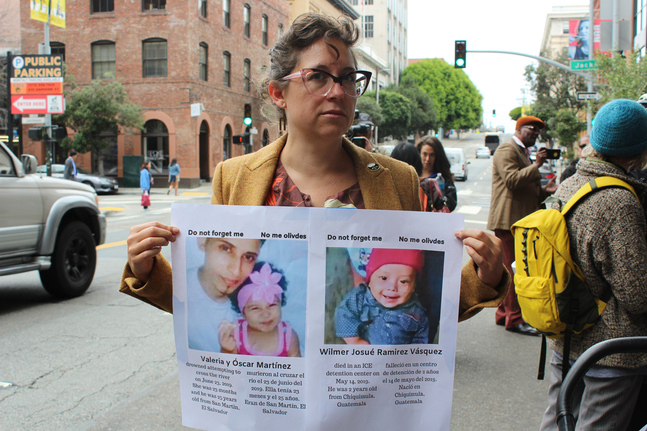 Jasmine Alston and her 2-year-old (not shown) attended an Aug. 1 protest at the San Francisco ICE office. (Photo/Tova Ricardo)