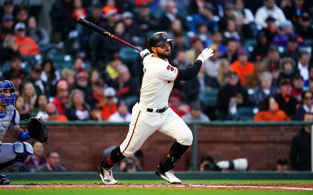 Just in time for the annual San Francisco. Giants Jewish Heritage Night, the team has acquired Jewish outfielder Kevin Pillar, seen here the second inning of an April 29 game against the Los Angeles Dodgers. (Photo/©2019 S.F. Giants)