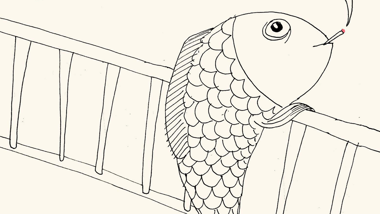 simple line art of a fish carrying a ladder and smoking a cigarette