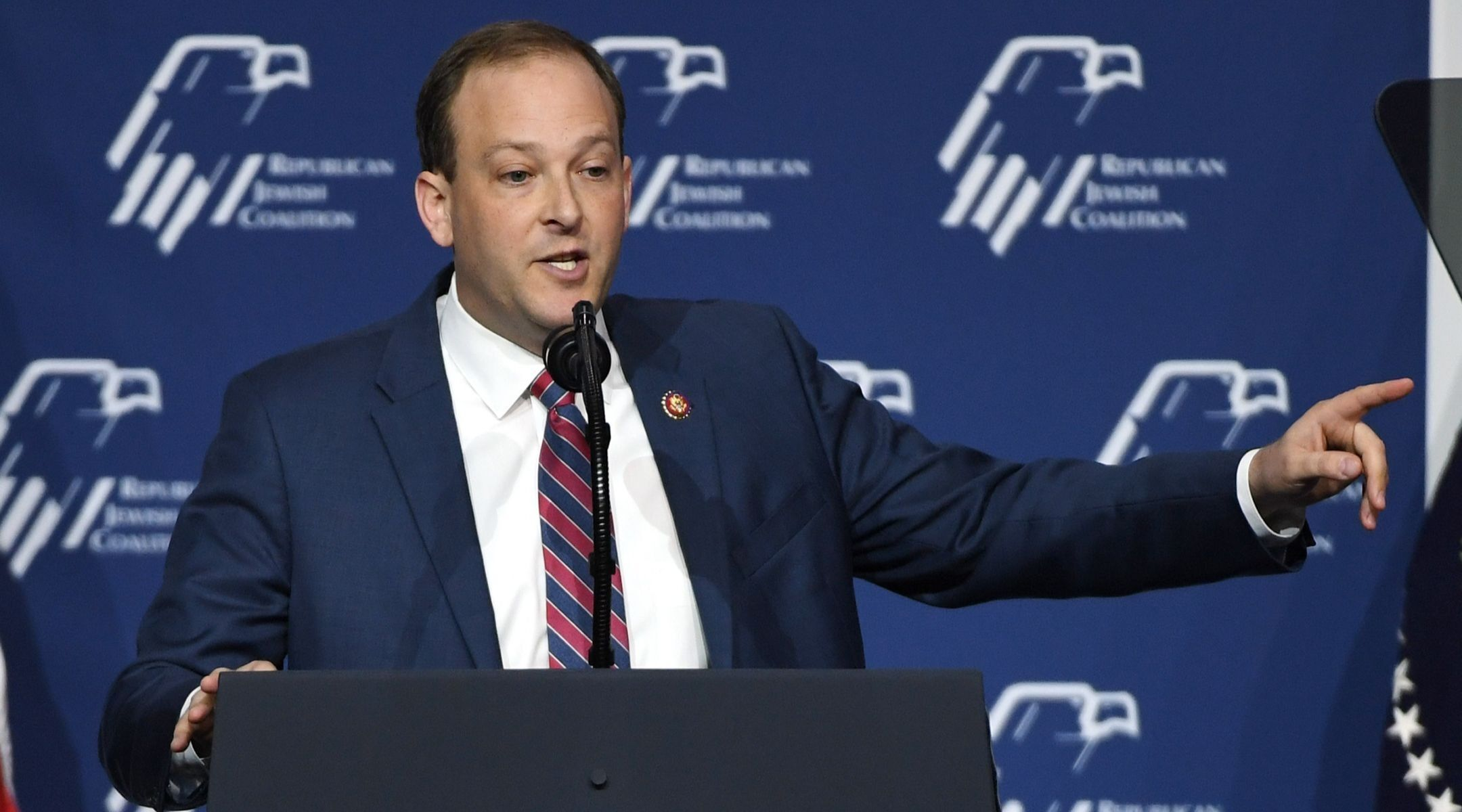 Rep. Lee Zeldin, R-NY, speaks during the Republican Jewish Coalition's annual leadership meeting at The Venetian Las Vegas ahead of an appearance by President Donald Trump, April 6, 2019. (Photo/JTA-Getty Images-Ethan Miller)