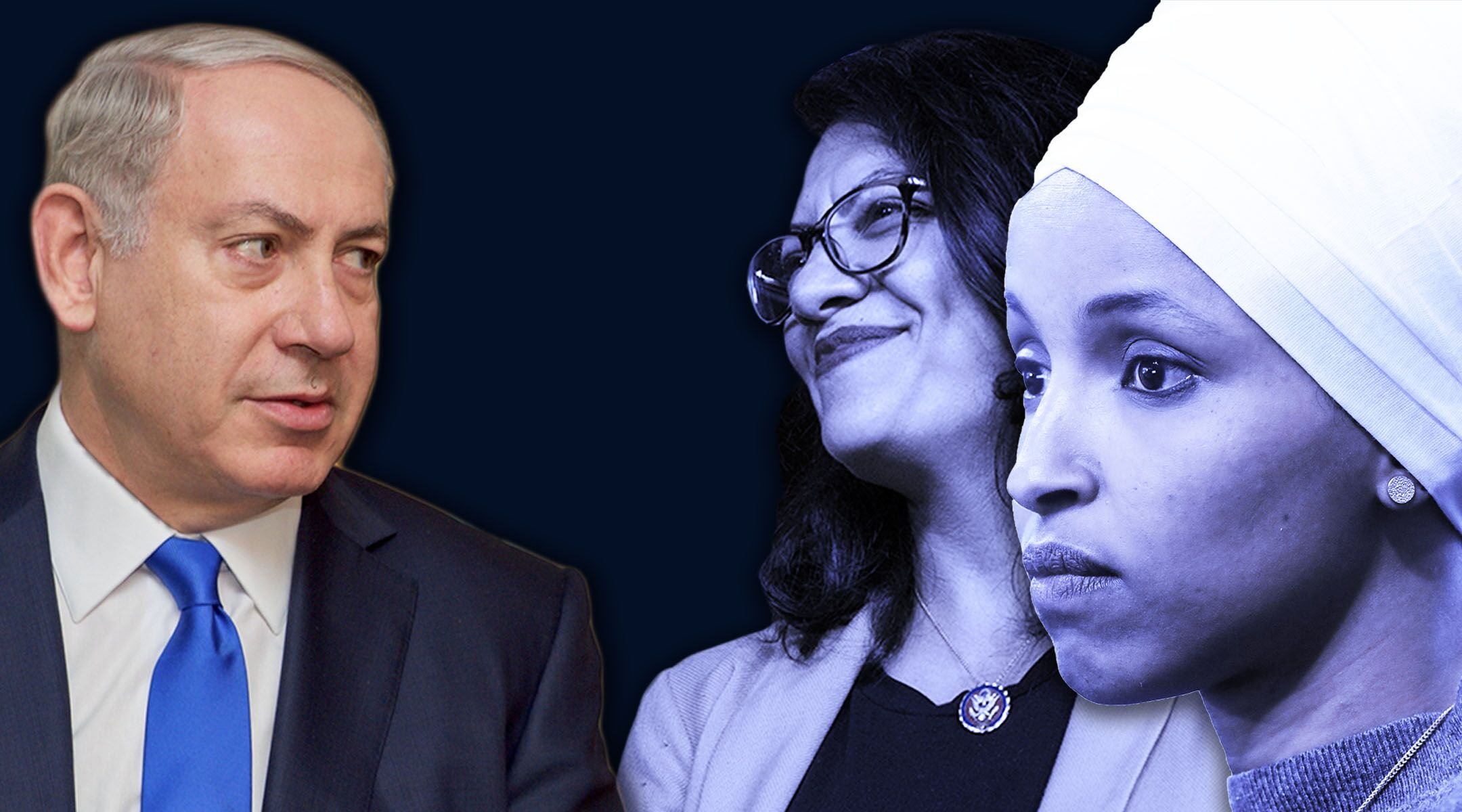 """Israeli Prime Minister Benjamin Netanyahu, left, said Reps. Rashida Tlaib, center, and Ilhan Omar, right, provided an itinerary that """"revealed that they planned a visit whose sole objective is to strengthen the boycott against us and deny Israel's legitimacy."""" (Photos/Getty Images; Collage/JTA-Laura E. Adkins)"""