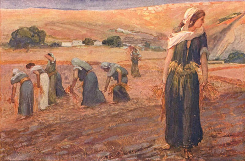 "This week's Torah portion lists 74 laws, including the law of gleaning, which says that fallen crops must be left for widows and orphans, as seen in ""Gleaners"" by James Tissot."