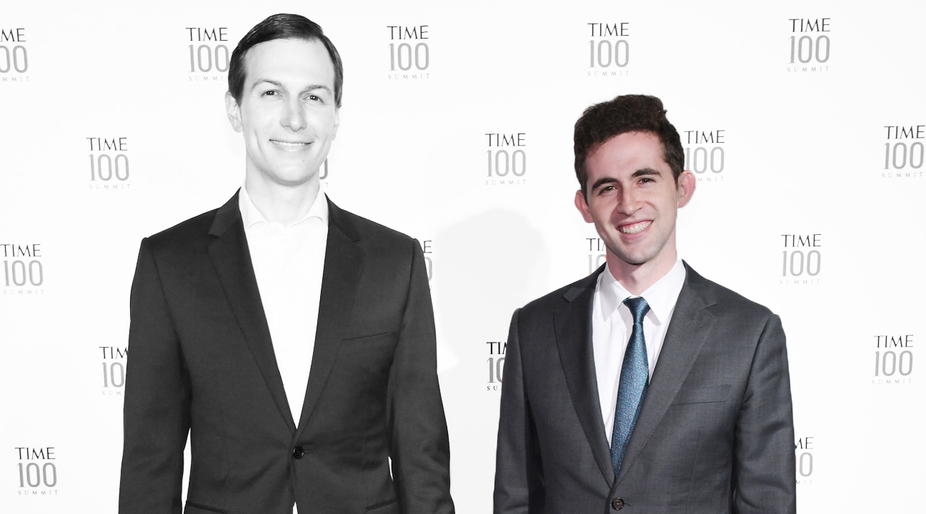 Avi Berkowitz, right, with Jared Kushner at the TIME 100 Summit in New York City, April 23, 2019. (Photo/JTA-Craig Barritt-Getty Images for TIME)