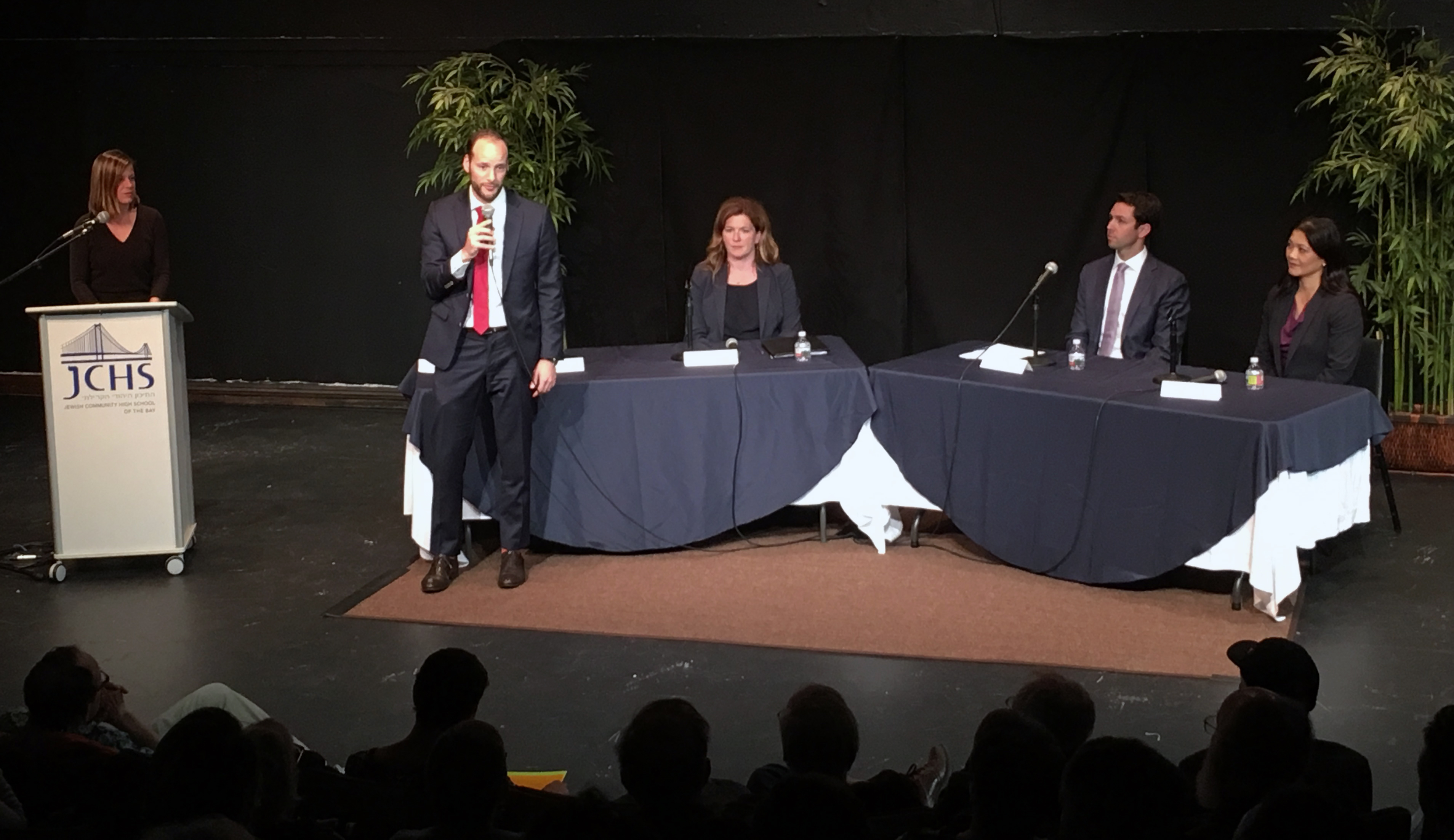 (Left to right) JCRC Executive Director Abby Porth and district attorney candidates Chesa Boudin, Suzy Loftus, Leif Dautch and Nancy Tung at Jewish Community High School of the Bay in San Francisco, Sept. 10, 2019 (Photo/Brandon Davis-JCHS)