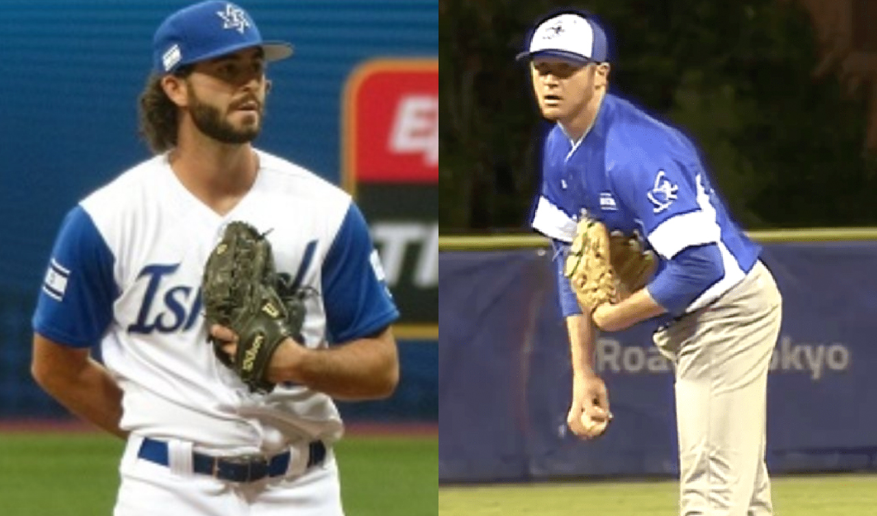 Bay Area natives Joey Wagman (left) and Gabe Cramer pitching for Israel in 2020 Olympic qualifying games (Photos/Wagman: Team Israel Twitter; Cramer: YouTube screenshot)