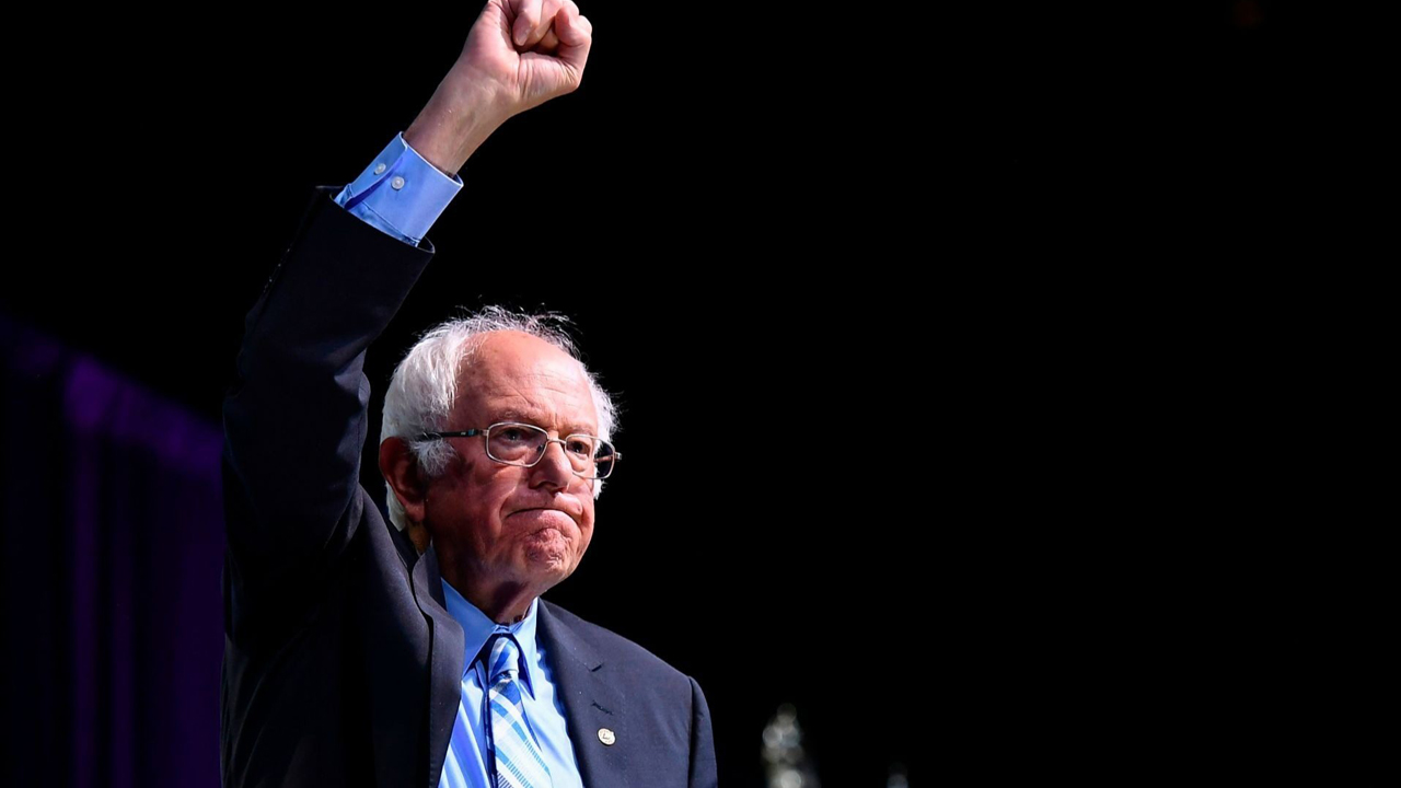 Bernie Sanders gestures at the 2019 J Street conference in Washington, D.C., Oct. 28, 2019. /JTA-Mandel Ngan-AFP via Getty Images)