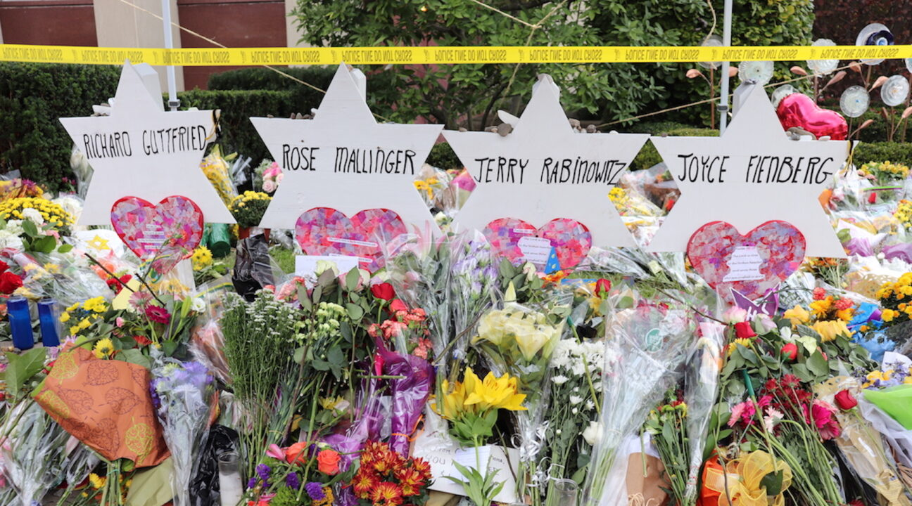 A memorial for the victims of the Tree of Life synagogue shooting in Pittsburgh. (Photo/JTA-Hane Grace Yagel)