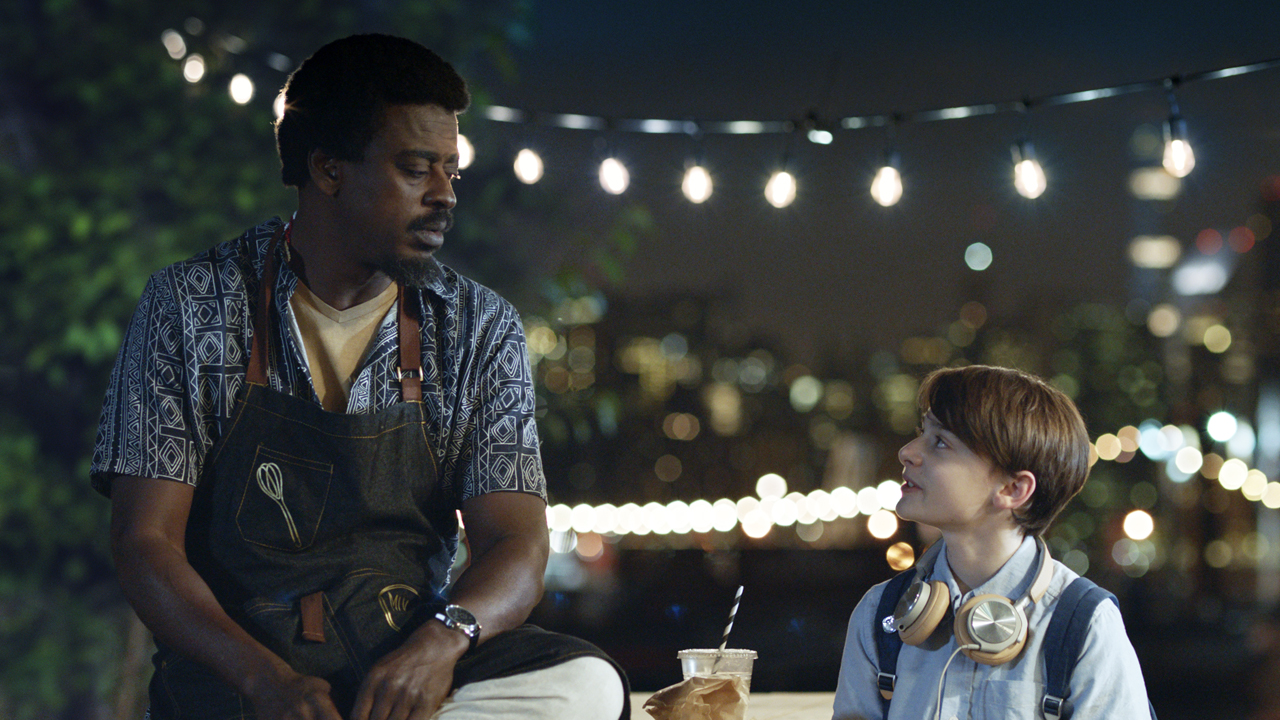 """Noah Schnapp (right) as the aspiring chef Abe and Seu Jorge as his culinary mentor in """"Abe"""""""