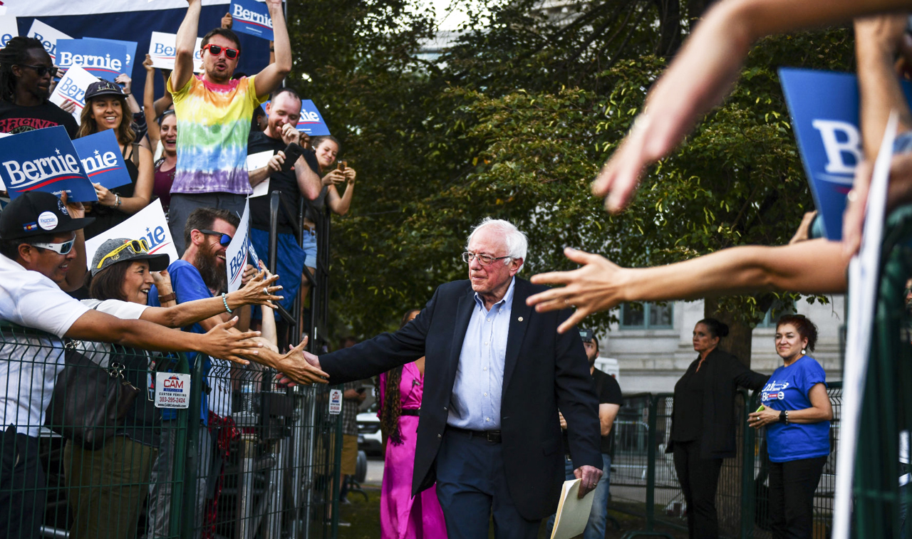Sen. Bernie Sanders greets supporters before speaking at a campaign rally at a Denver park, Sept. 9, 2019. (Photo/JTA-Michael Ciaglo-Getty Images)