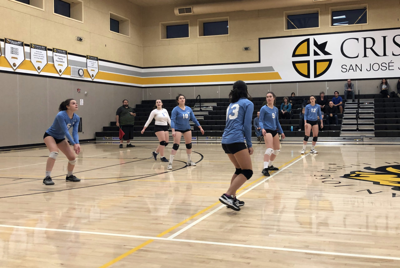 Kehillah Jewish High School volleyball players at Cristo Rey San Jose Jesuit High School, Oct. 28, 2019. /Ryan Greenfield