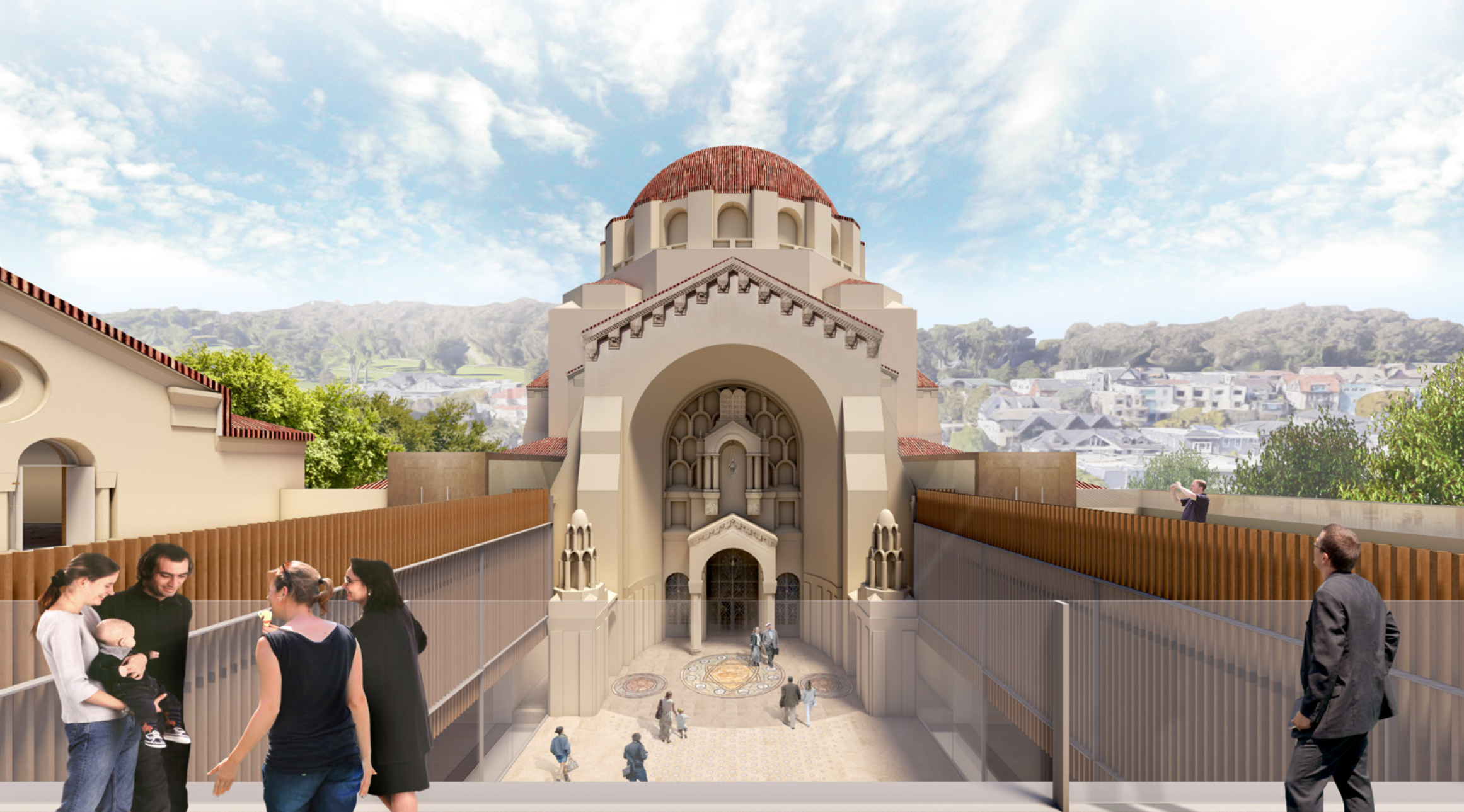 Under the planned renovation of Congregation Emanu-El in San Francisco, a new roof deck will be added on top of the existing courtyard portico. (Rendering courtesy of Mark Cavagnero Associates)
