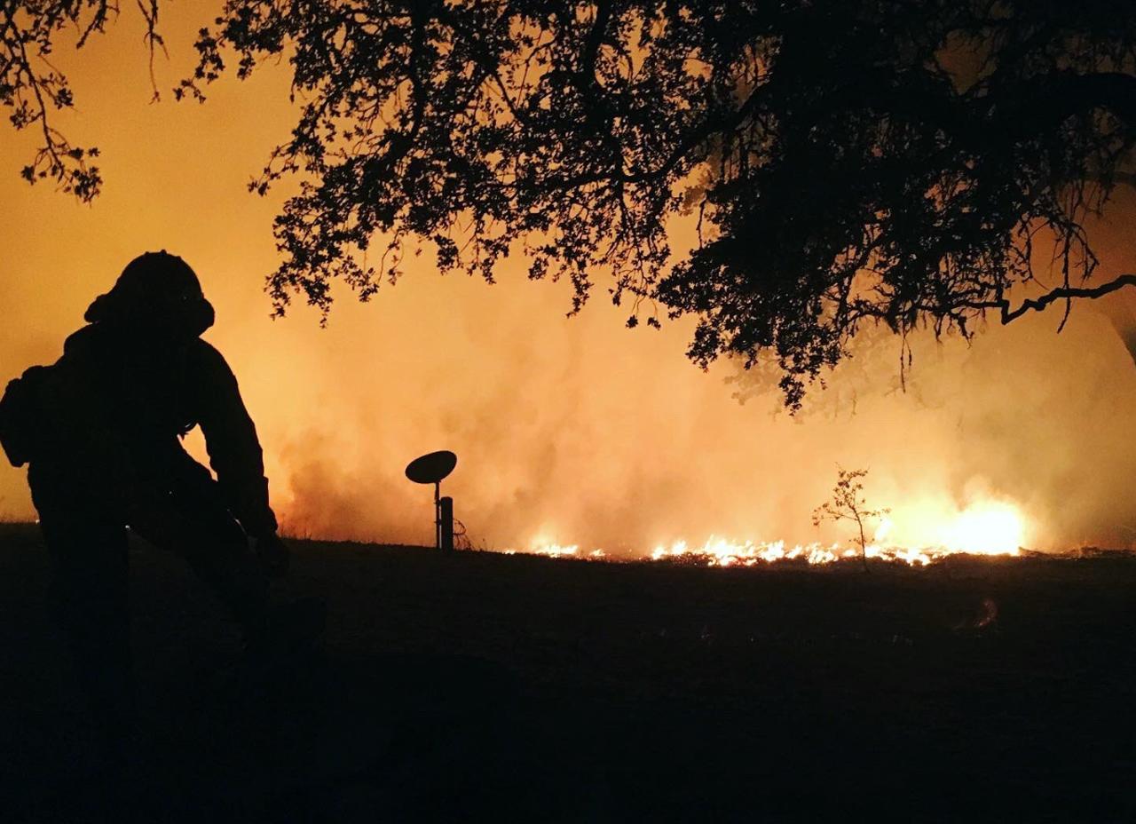 A San Luis Obispo firefighter fights a blaze at a winery in Sonoma, Oct. 27, 2019.  /San Luis Obispo Fire Department-Twitter