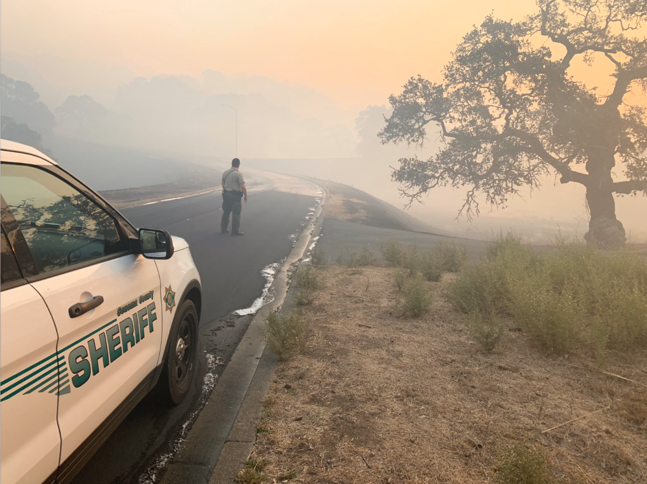 Conditions near Santa Rosa, Oct. 28, 2019. /Sonoma County Sheriff's Department-Twitter