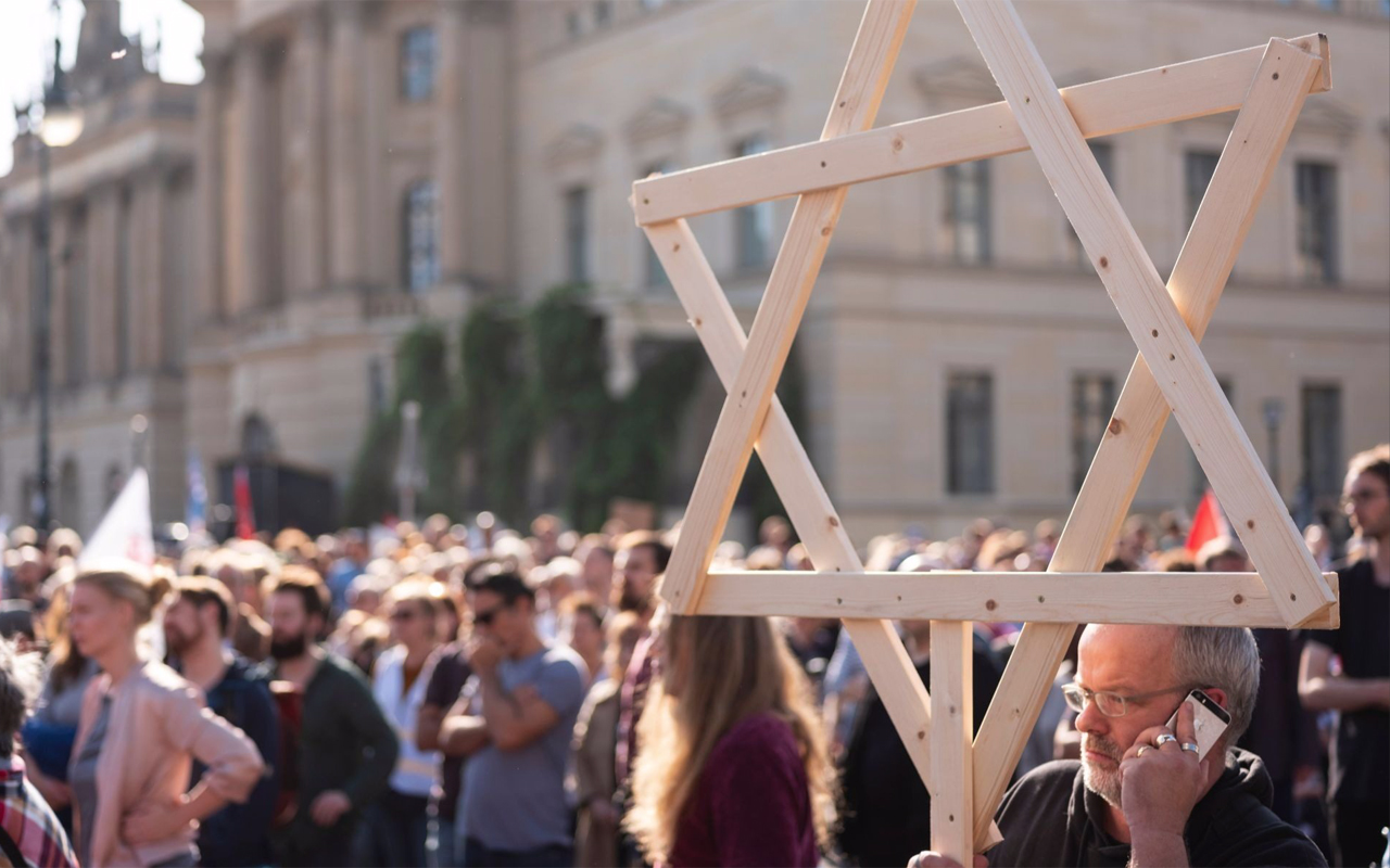 Thousands rally against anti-Semitism on Oct. 13, 2019 in Berlin, days after two people were killed by a gunman targeting a synagogue in the city of Halle. (Photo/JTA-AFP via Getty Images-Axel Schmidt)