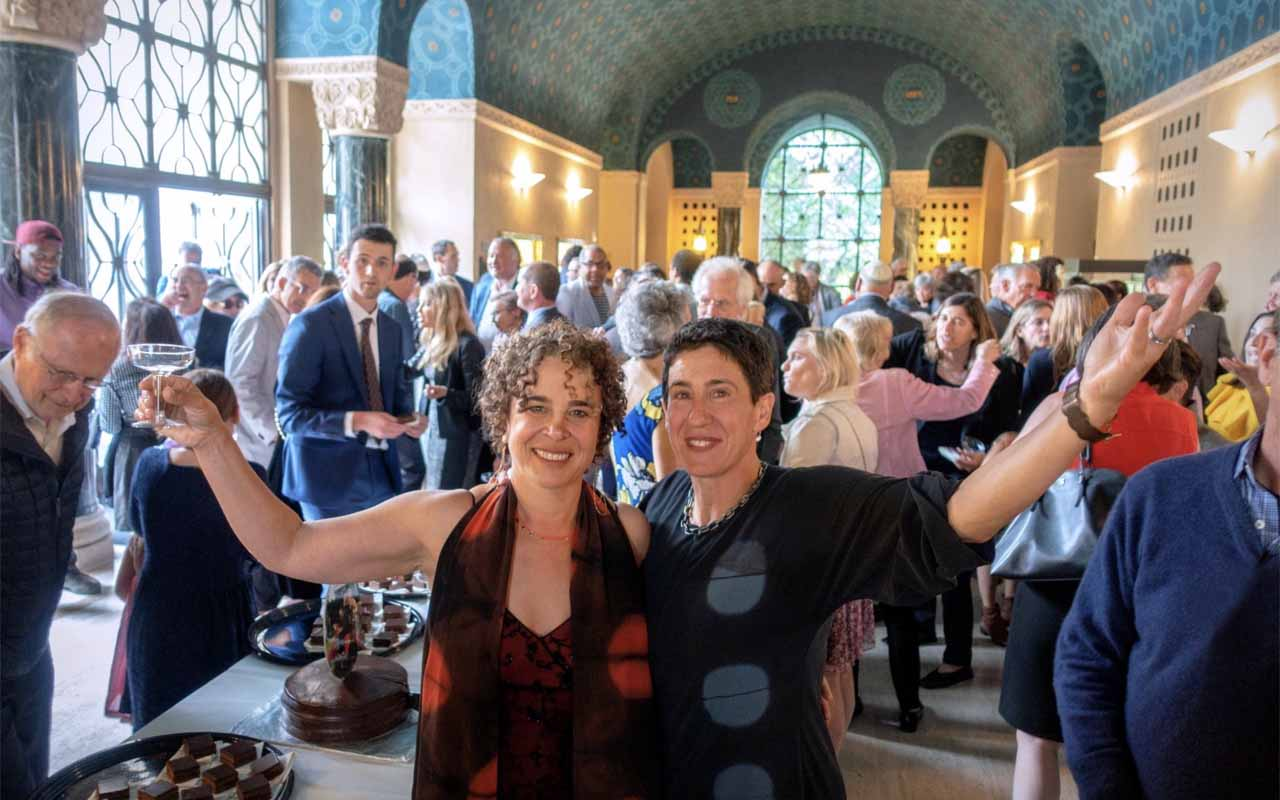 Ellen Spiro (left) and Rabbi Sydney Mintz at their wedding in San Francisco on July 26. (Marc Estoque)
