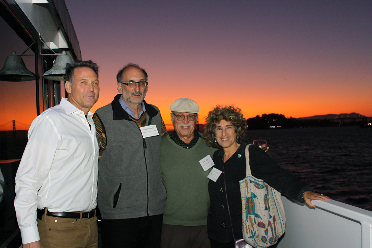(From left) J. board members Harmon Shragge and Jerry Yanowitz with Noah and Hope Alper, on a Sept. 24 cruise for stakeholders on both sides of the S.F.-East Bay federation consolidation. (Courtesy S.F.-based Jewish Community Federation)