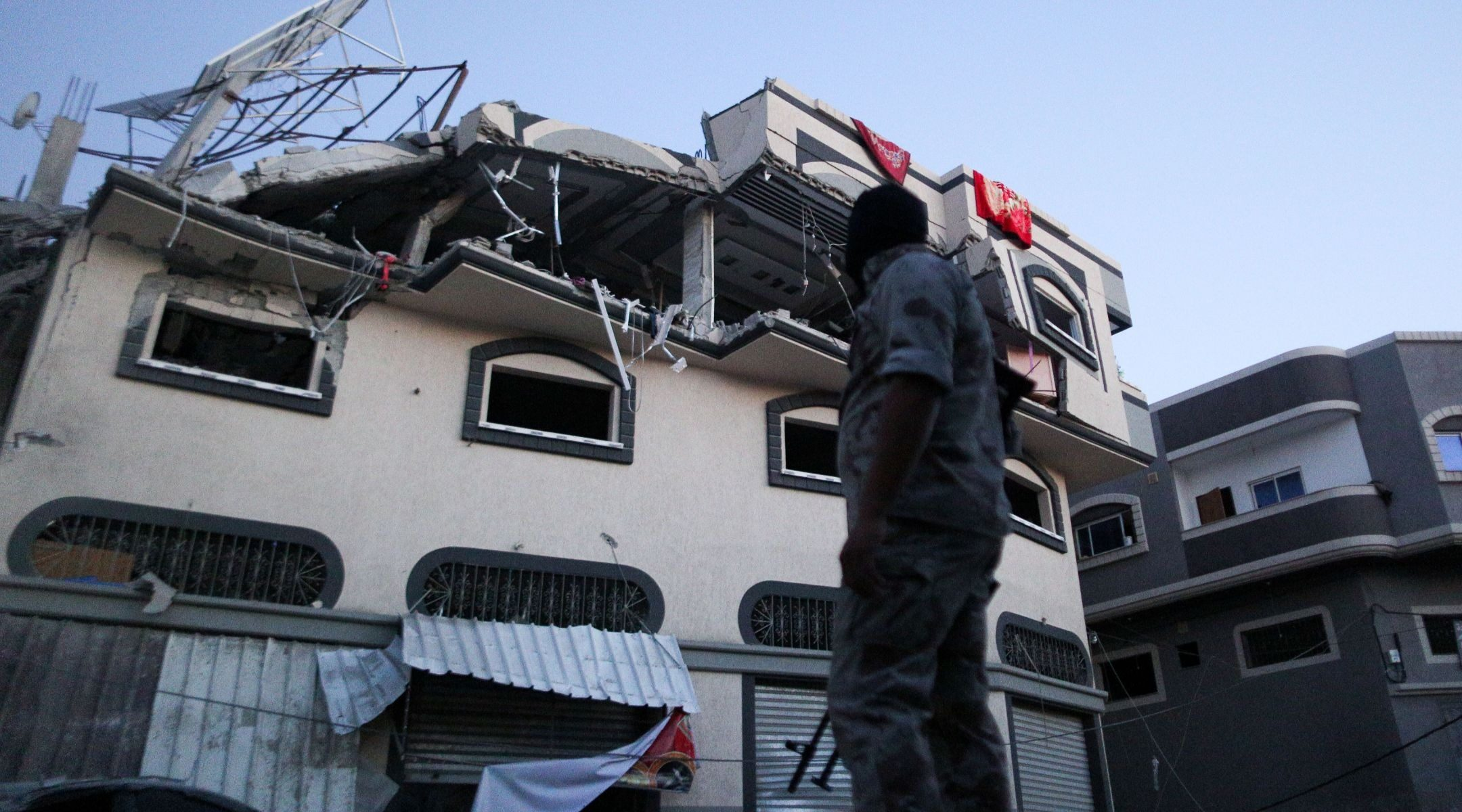 """The home of Palestinian Islamic Jihad senior commander Baha Abu al-Ata was hit by an Israeli air strike in Gaza City on Nov. 12, 2019, killing al-Ata and his wife in what the Israel Defense Forces called a """"surgical strike."""" (JTA/Hassan Jedi/Flash90)"""
