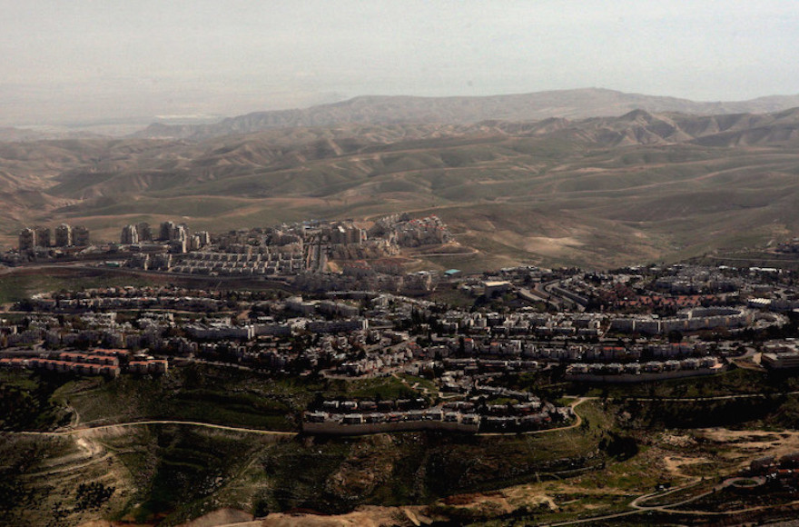 An aerial view of Israel's largest settlement, Maale Adumim. (JTA/David Silverman/Getty Images)