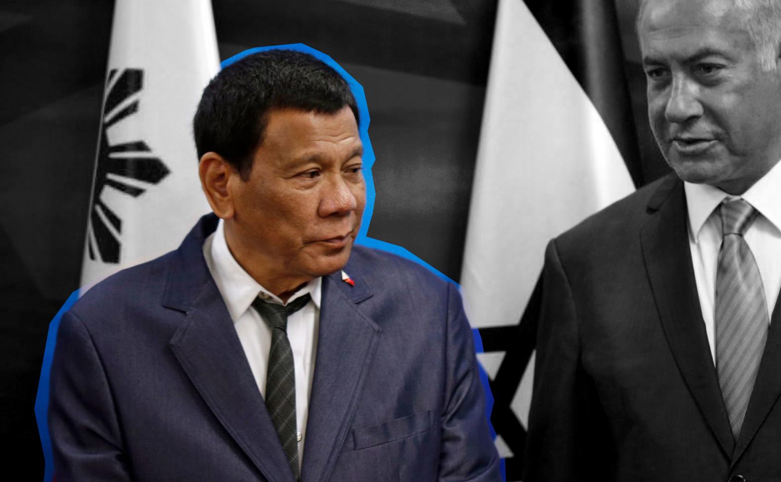 President of the Philippines Rodrigo Duterte (left) with Israeli Prime Minister Benjamin Netanyahu in Jerusalem, Sept. 3, 2018. (JTA/Ronen Zvulun/AFP via Getty Images)