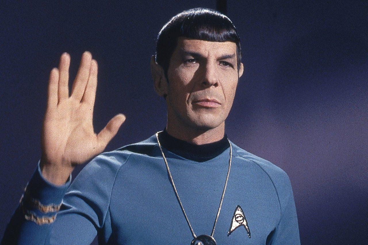 "Leonard Nimoy as Spock in an episode of ""Star Trek."""