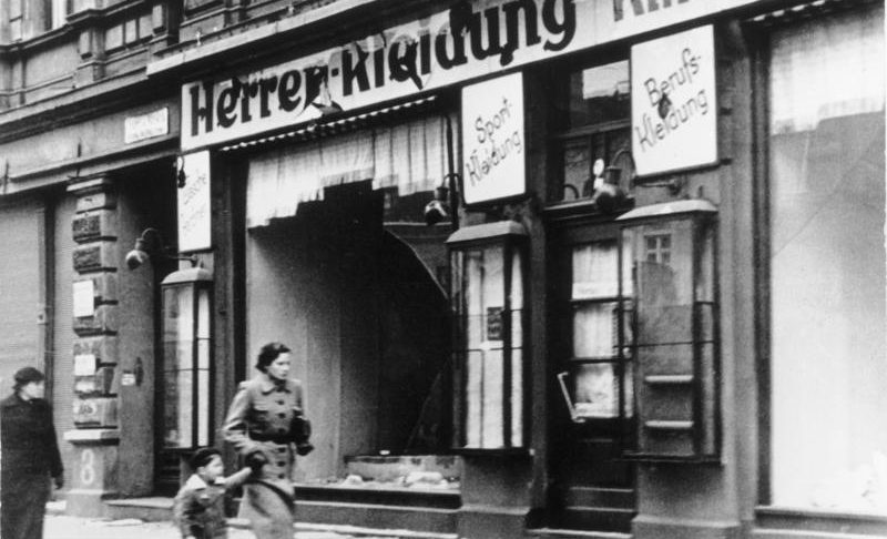 A destroyed Jewish clothing store in Magdeburg, Germany, after Kristallnacht, Nov. 11, 1938. (JTA)