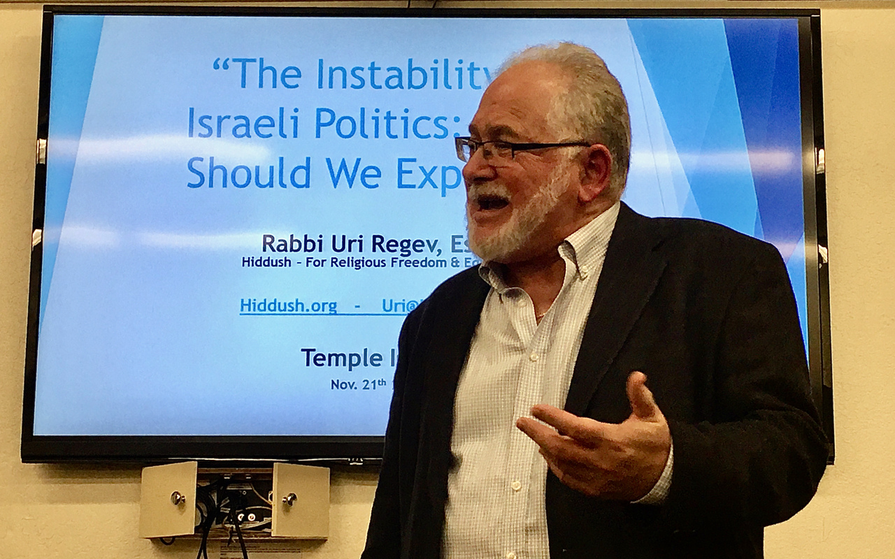 Rabbi Uri Regev at Temple Isaiah in Lafayette, Nov. 21, 2019. (Herbert Thier)