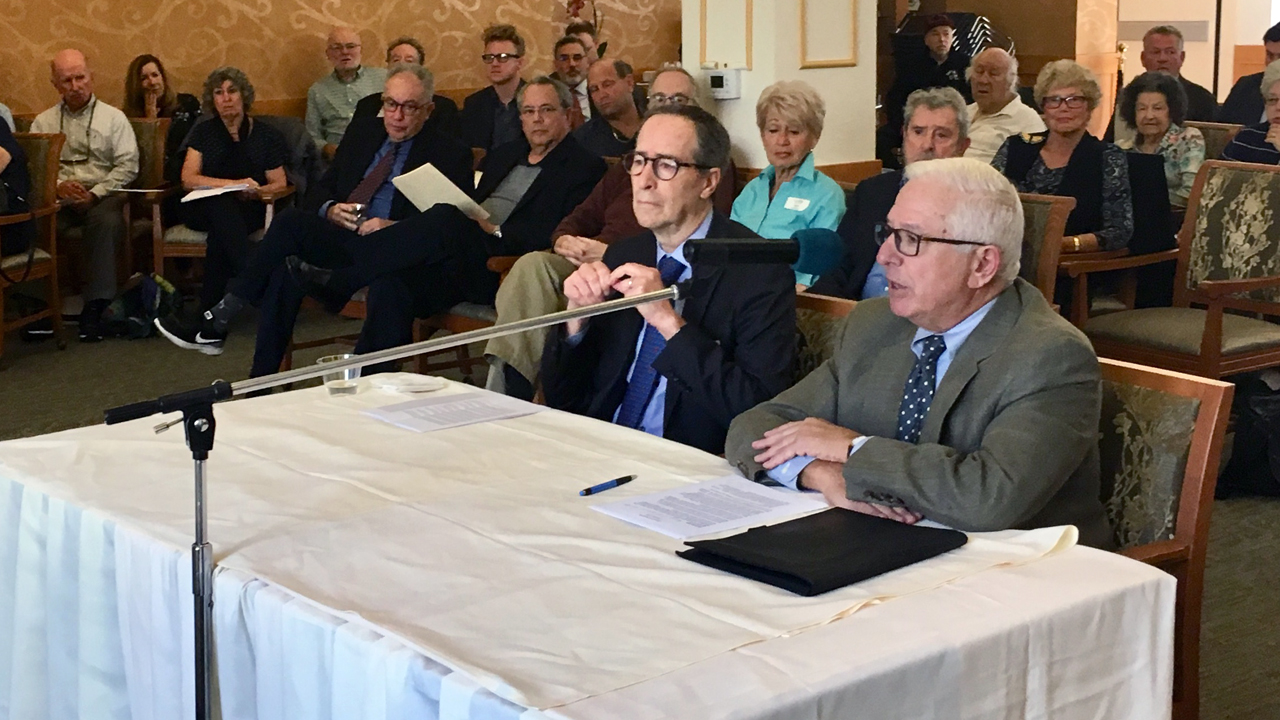 Reutlinger Community President and CEO Jay Zimmer (left) and Board President Jordan Rose at a Nov. 5, 2019 hearing about the management agreement between Reutlinger Community and Eskaton. (Dan Pine)