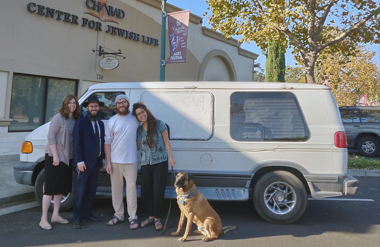(From left) Rebbetzin Aidel and Rabbi Chaim Zaklos, Ashriel Ashush, Maayan Kline and 9-year-old dog Benzi. (Batya Sackville)